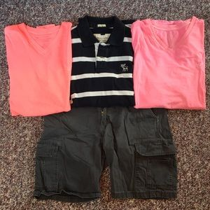 AE Shirts, Abercrombie Polo, and Cargo Shorts